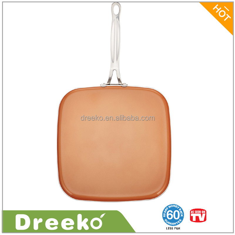 Red Copper Square Ceramic Non-Stick Griddle 10.5""