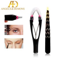 best selling High Quality plucking eyebrow tweezers Auto retractable stainless steel oblique eyebrow clip