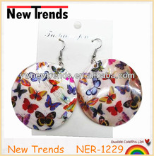 2016 jewelry printed butterfly big dangle shell earrings