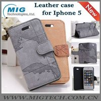 New product World map style credit card slot wallet leather case for iphone 5 5S