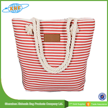Stripe Canvas Beach Tote Bag With Rope Handle