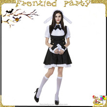party girl cute black and white french maid costume