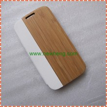 Solid Wood+PU leather Flip Case For Samsung Galaxy S4
