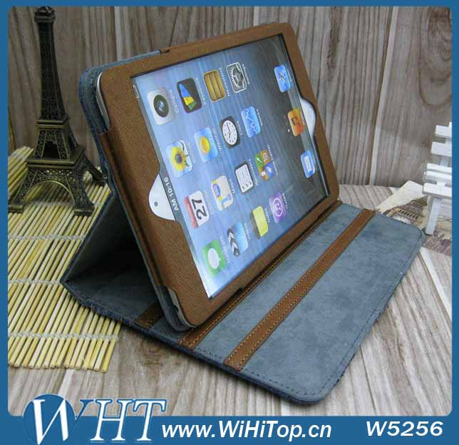 Fancy Cover Stand Leather Case for iPad Mini 2/ 1 Jeans Pattern with Card Holders