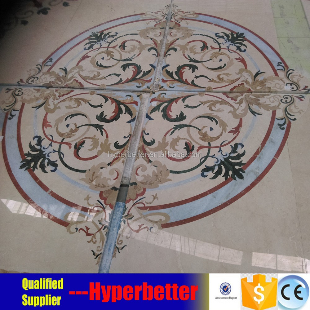 Waterjet medallion tiles for lobby