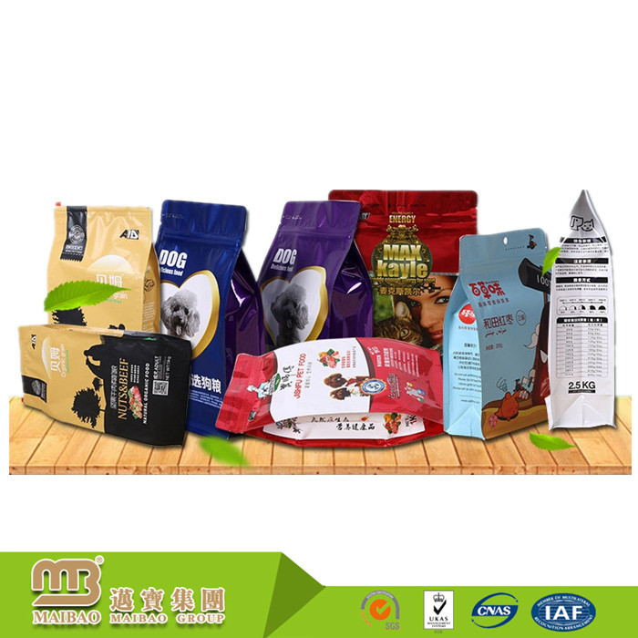 Hot Sale Big Laminated Material Plastic Custom Eight Side Sealing Pet Dog Food Storage Bag With Resealable Zipper