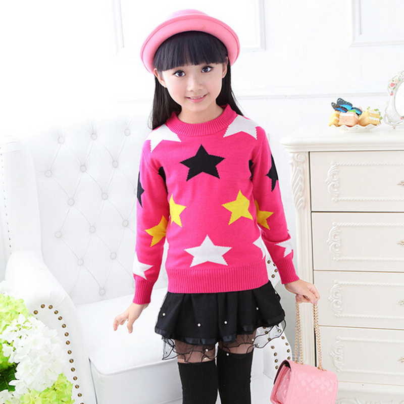Girls Brand Sweater Children Winter Clothes Cotton & Wool Sweaters Child Print Star Sweaters Girl Pullover Kids Cartoon Sweaters