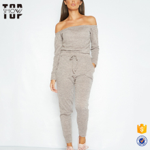 Wholesale loungewear design new off the shoulder ladies blank tracksuits