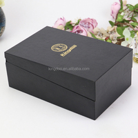 Clamshell Luxury Glossy Lacquered Black Wooden Velvet Lined Perfume Gift Box with EVA Insert