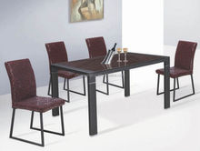 hot-sale rectangule tempered glass top and painted metal legs dining room sets,dining room table,dining room furniture