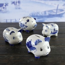 Delft ceramic blue and white stoneware money bank box