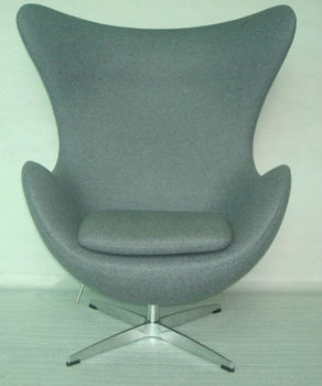 Cashmere Fiberglass Egg Chair With Ottoman View Cashmere Fiberglass Egg Chair With Ottoman