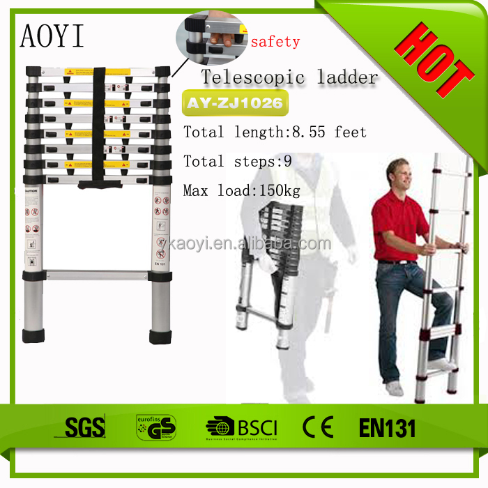 AY Hot safety lock portable telescopic ladder hooks