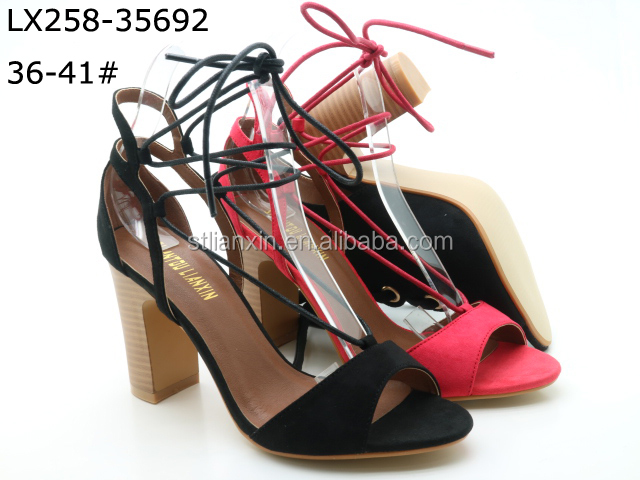 Leather latest sandals designs for lady high heel fancy sandal