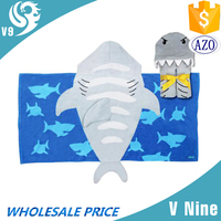 100% cotton velour custom printed poncho hooded baby bath towel