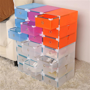 NEW1PC Eco-Friendly Shoe Storage Box Case Transparent Plastic Storage Box Rectangle PP Shoe Organizer Thickened drawer Shoe Box