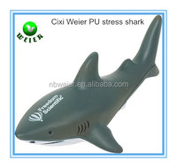 14.5x7.5x5cm bulk polyurethane PU shark toy/custom printed PU stress shark/stress ball type PU toy shark style