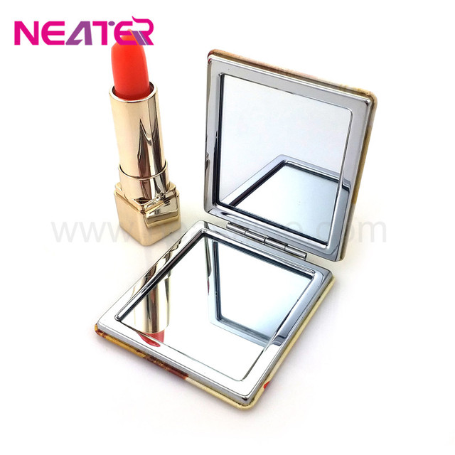 2017 hot sale Square Sakura Pattern Compact Mirror Metal Makeup Mirror