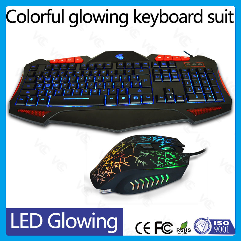 wired led light backlit multimedia ergonomic game modern game keyboard and mouse combo