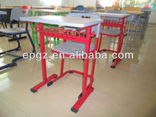 Double or single seat plastic school table and chairs, Wooden desk plastic chair for school
