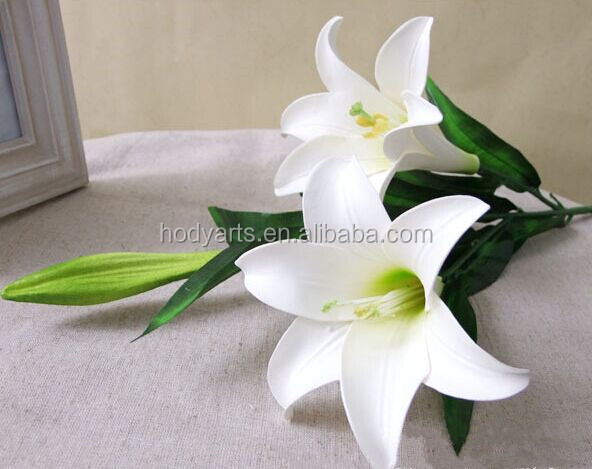 Wholesale New Design and High Quality Single Stem 3 Heads (2Flowers,1 bud) White Lily PVC Artificial Flower