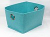 Mini Blue Open Top Drawer Felt Storage Box With Round Metal Holes(Medium)