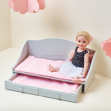 18 inch Doll Furniture | Trundle Bed (Grey Polka Dots) | Fits American Girls
