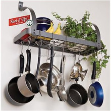 metal hanging kitchen cookware rack with hook