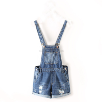 summer lastest design sweat girls fashion women skinny straps denim jeans short suspender bib overalls