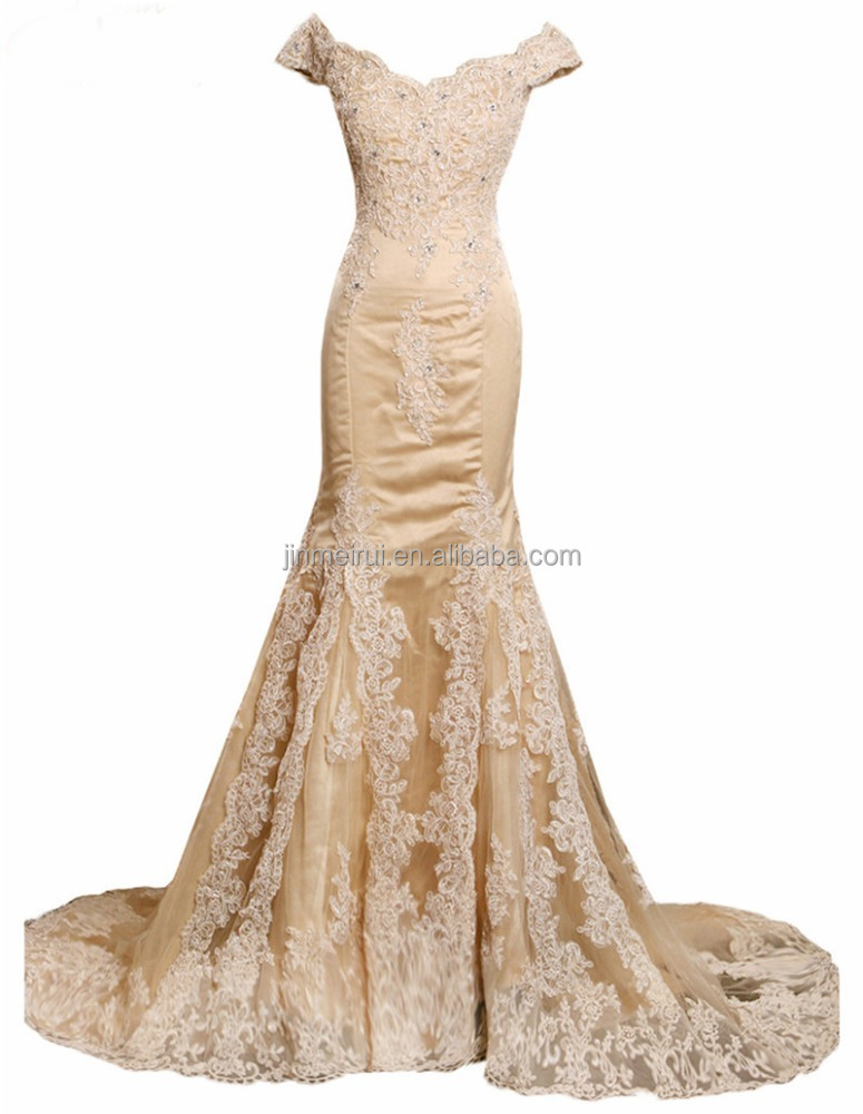 Off the Shoulder Sweep Train Eveing Gown for Evneing Party 2016 High Quality Appliqued Beaded Tulle Prom Dress Formal Party Gown