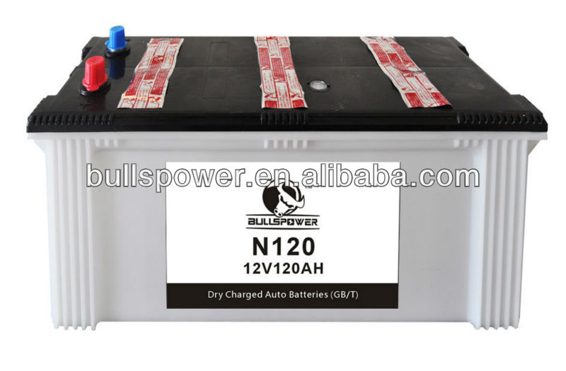 auto battery dry charged N120 12V120Ah korean car battery