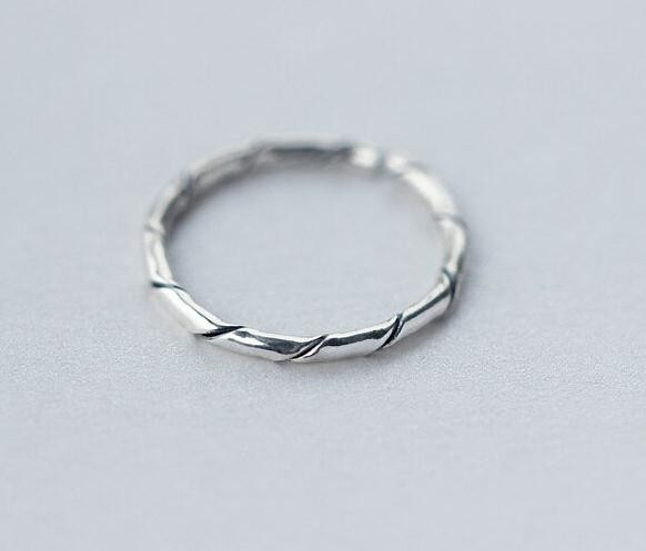Ancient 925 Sterling Silver Bamboo Knuckle Ring Midi Ring