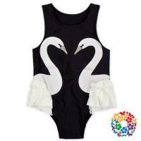 2017 Lovely Black Color Kids Swim Suits A Pair Of Swans Designs Girls Swim Suit Wholesale Sleeveless Baby Romper Swimming Wear