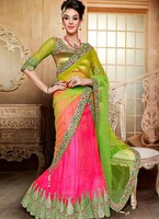 Amazing Stone Work Pink Net Designer Lehenga Choli Wear