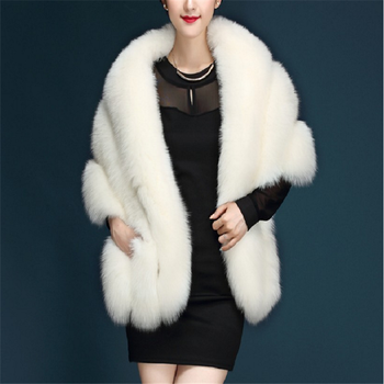 White color fashion luxury fur shawl for bride lady spring winter fox fur cape factory price
