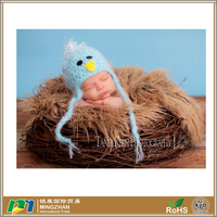Winter Warm Blue Bird Baby Beanie Hat With Earflaps And Ties
