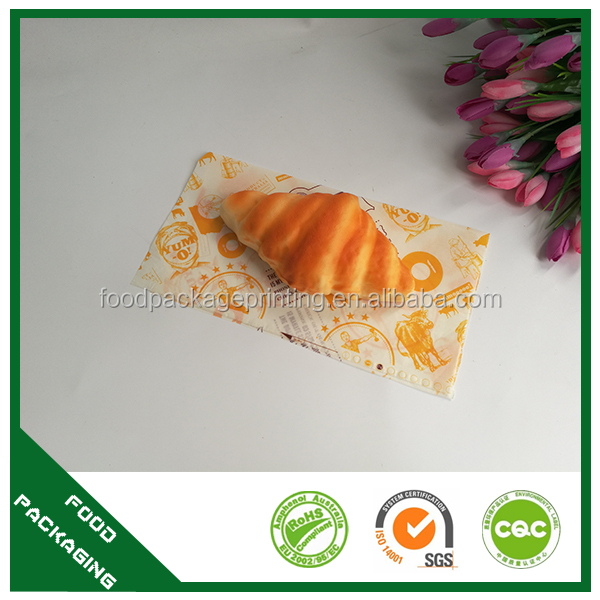 High quality custom logo printed greaseproof wrapping foods grade