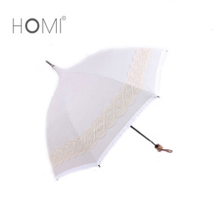 Wedding White Lace Pagoda Parasol White Elegant Straight Umbrella