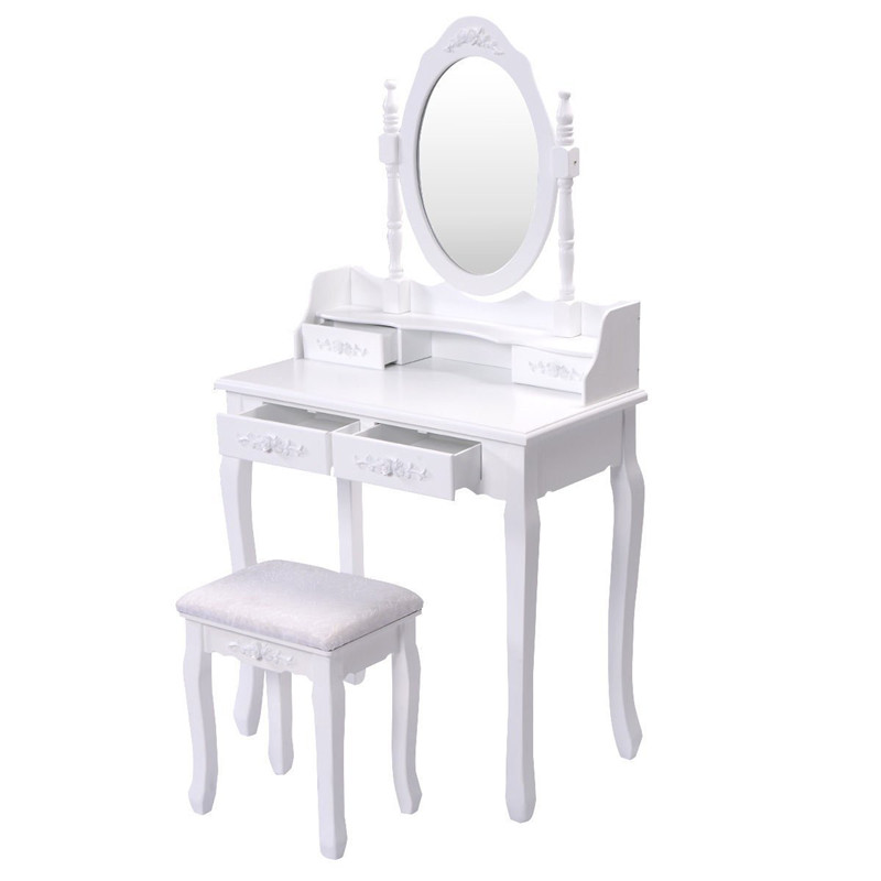 White Dressing Table Makeup Desk with 1Stool, 3Drawers&1 Oval Mirror Dressing Table Bedroom