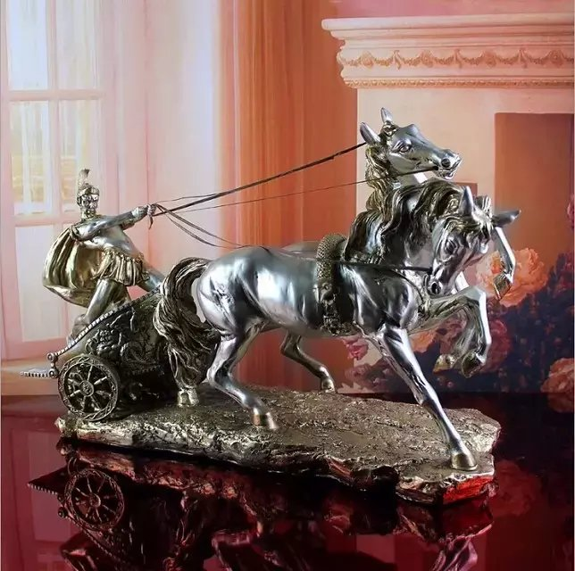 antique horse statue and roman chariot resin sculpture handicrafts office furnishing articles in the living room