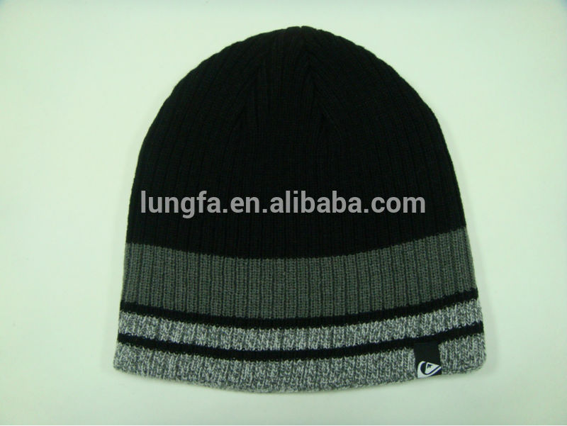 Modern cheap woven label acrylic embroidery beanie