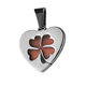 Ladies stainless steel four leaf clover heart pendant