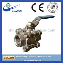 3 piece NPT/BSP threaded stainless steel ball valve, full bore, 1000psi