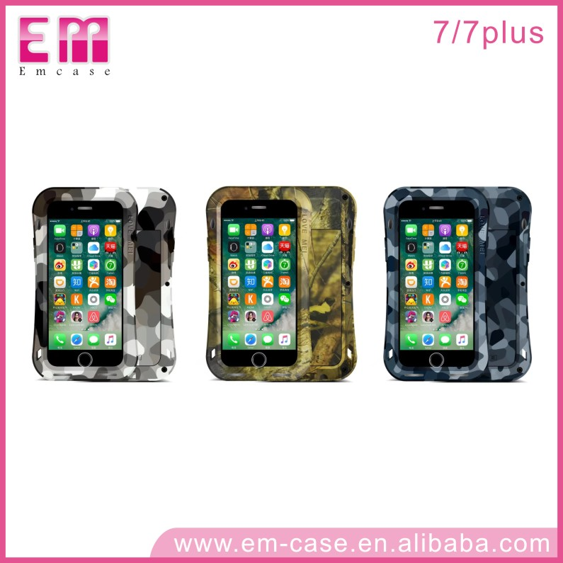 LOVE MEI Metal Case For iPhone 7 Waterproof Shockproof Camouflage Cover Case For iPhone 7 7Plus