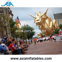 Custom Giant Parade Float Characters Helium Balloon / Inflatable Gold Dragon for Parade