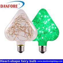 Christmas decorative E27 led bulbs with multi-color copper wire string lights inside in glass star shape
