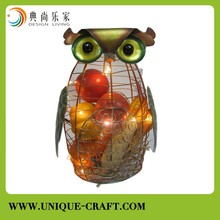 Metal lighted wire owl decor with pumpkin and apple filler holiday ornament