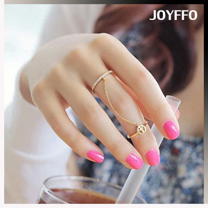 wholesale factory jewelry personality gold silver plated link chain connected alloy ring