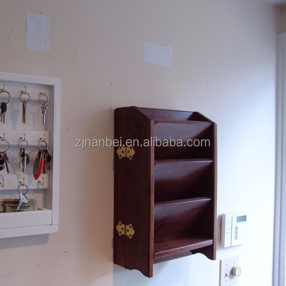 Custom two layer wall wooden key and magazine organizer box,rack holder