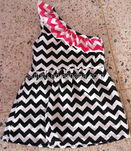 2014 fashion latest design lovely strapless chevron dress for baby girl's birthday party